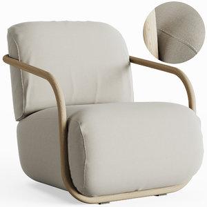 armchair wood 3D
