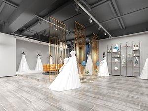 3D interior scene wedding dress