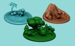 printable pokemon islands - 3D model