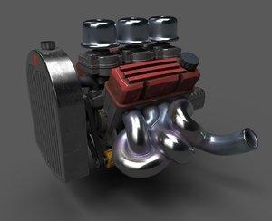 v8 flathead inspired engine 3D model