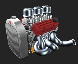 v8 flathead inspired engine 3D