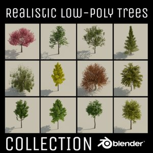 trees realistic low-poly uv 3D model