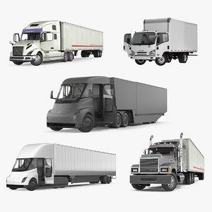 3D rigged cargo trucks