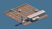Cartoon Low Poly Airport Package