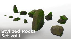 stylized rocks set vol 3D model