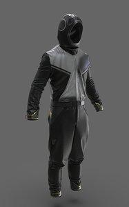 cyberpunk overall costume marvelous 3D model