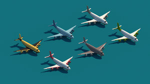 3D cartoon airplane package city model