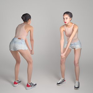 3D scanned human young woman model