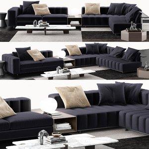 3D minotti freeman sofa coffee table