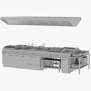 3D base mesh cooking line model