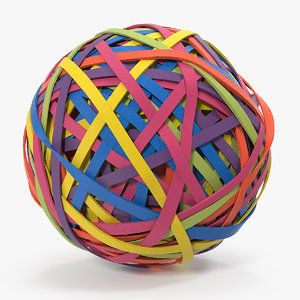 3D colorful rubber band ball model