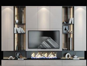 tv shelf fireplace 3D model