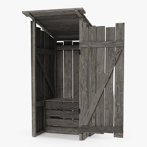 3D old wooden outhouse wood