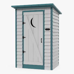 painted wooden outhouse toilet model