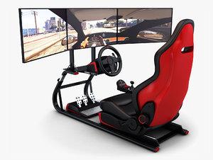 3D racing simulator triple display