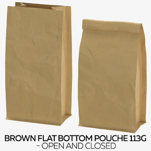 brown flat pouche 113g 3D model