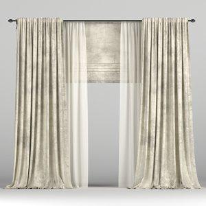 3D curtains roman tulle model
