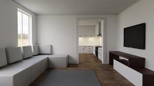 3d model kitchen room dining