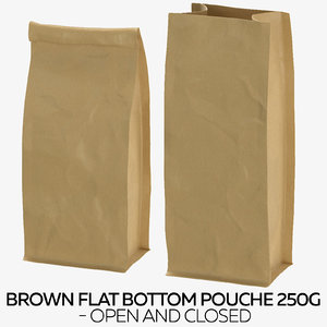 3D brown flat pouche 250g model
