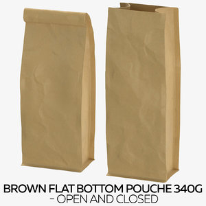 brown flat pouche 340g 3D model