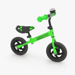 3D balance bike green model