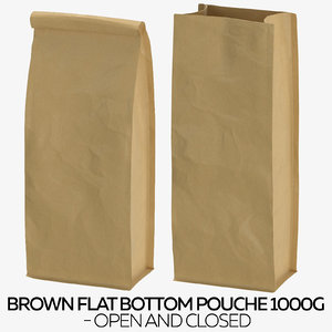 brown flat pouche 1000g 3D model