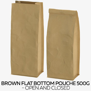 brown flat pouche 500g 3D model