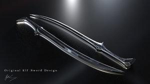 asset swords elfs 3D model