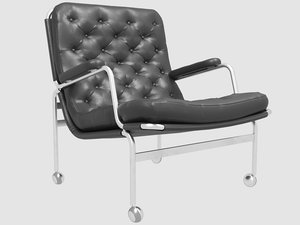 karin easy chair black leather 3D