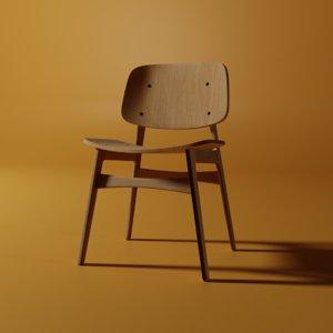 soborg oak chair 3D model