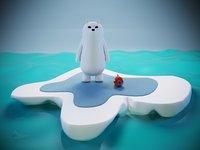 Cartoon Bear with Fish on Ice