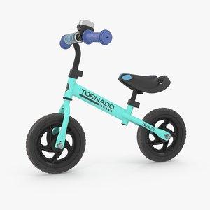 turquoise balance bike 3D