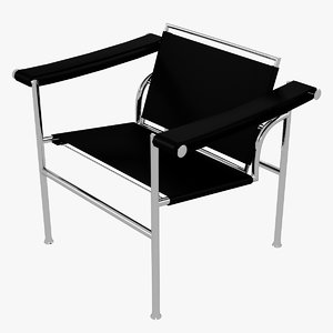3D minimalist le corbusier black model