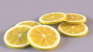 lemon lime slice fruit 3D
