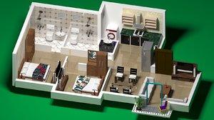 2 bhk apartment 3D model