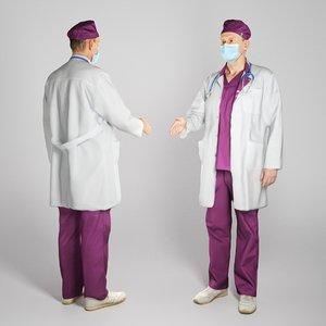 3D adult man uniform medical