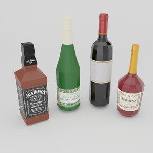 3D model set 4 bottles wine