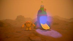 3D cartoon astronaut rocket model