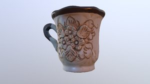 3D mug witch flowers cup