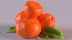 mandarin orange fruit citrus 3D