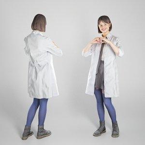 3D young woman uniform medical