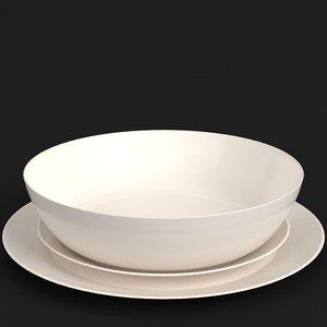 3D basic dinnerware set