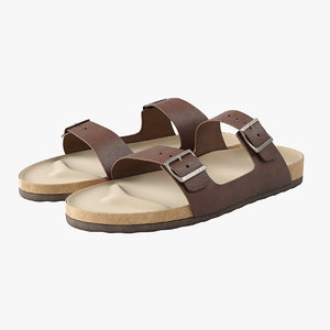 3D realistic brown leather sandals model