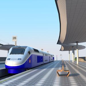 station train rail 3D model