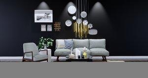 3D interior furnishings sofa