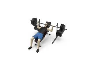 3D model man weight bench press