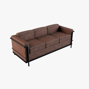 3D leather couch old model