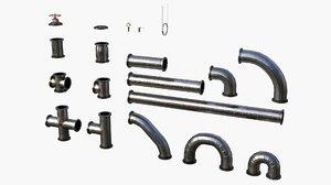 3D modular pipes metallic