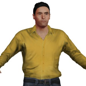 middle aged russian man character 3D model
