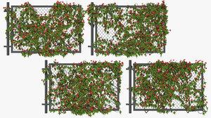 3D model fence ivy